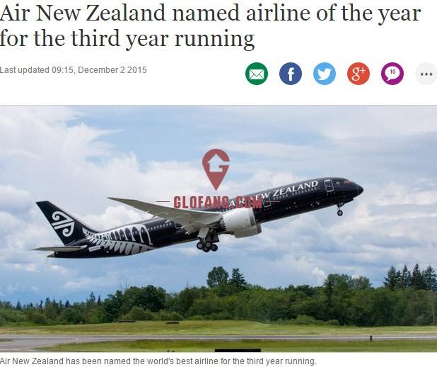 新西兰航空连续三年荣获全球最佳航空公司殊荣!