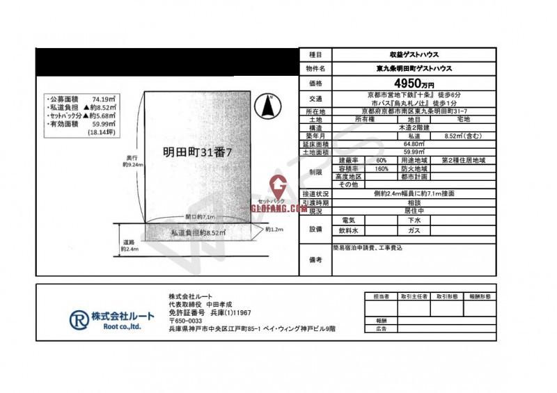 京都东九条明田町 家庭旅馆(年回报7.94%民宿经营资格证)