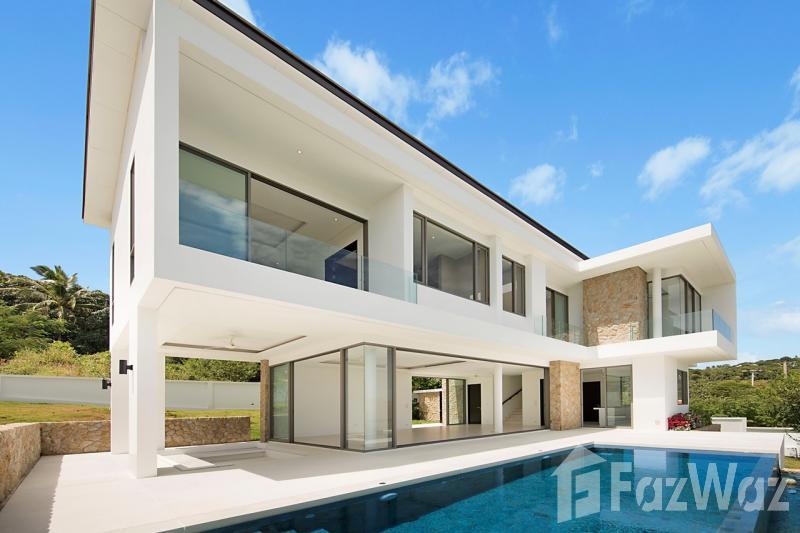 3卧室别墅出售在波普,苏梅岛与花园,山,游泳池,海景