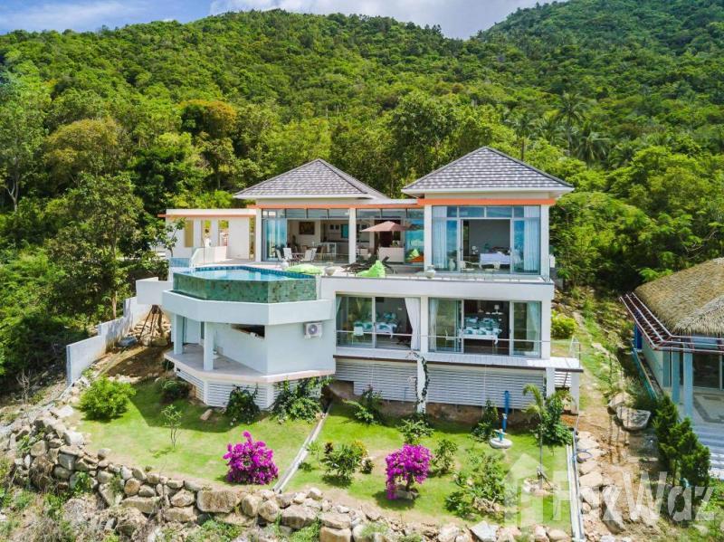 4卧室别墅出售在波普,苏梅岛与山,游泳池,海,绿色景观