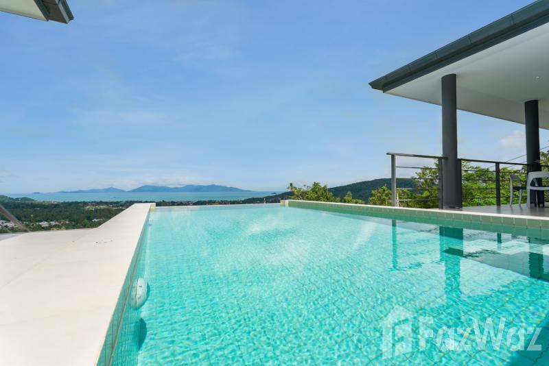 3卧室别墅出售在波普,苏梅岛与山,游泳池,海,绿色景观