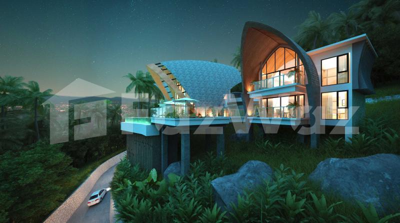 4卧室别墅出售在查汶海滩,苏梅岛与城市,花园,山,游泳池,海景