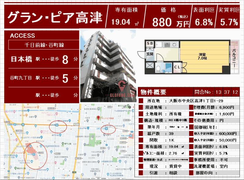 大阪市中央区投资公寓