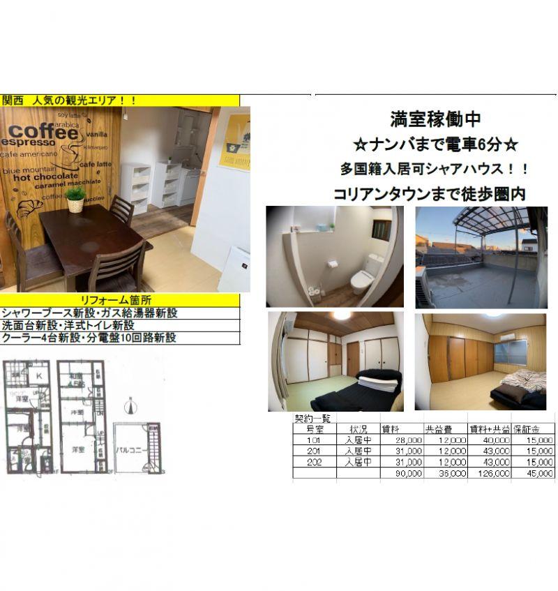 大阪著名老镇鹤桥一栋国际型中古公寓, 惊爆价