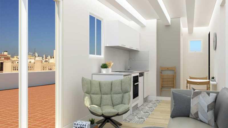 巴塞罗那近兰布拉大道带大露台单身公寓