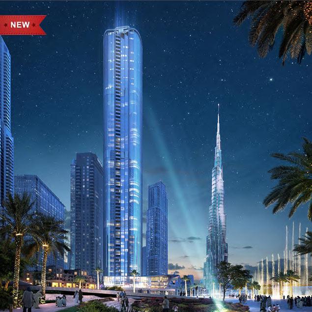 迪拜市中心楼王公寓 Emaar Grande 音乐喷泉景观