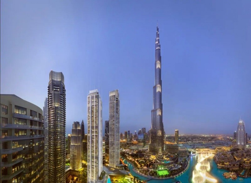 迪拜市中心楼王公寓Grande,180度面向世界最大音乐喷泉