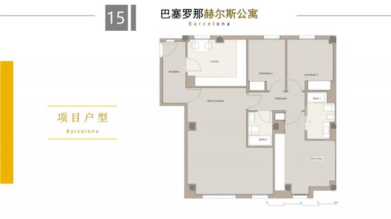 巴塞罗那房产:扩展区116平3室 房价77万,编号46079