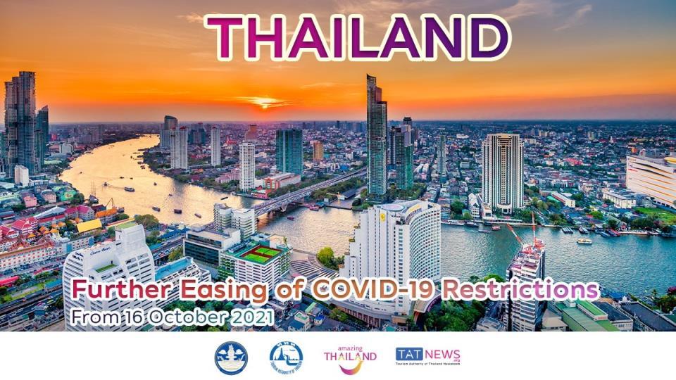 从2021年10月16日起,泰国将放松更多的COVID-19限制